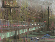 Traffic Drawings Prints - Canton Road Overpass Print by Donald Maier