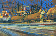 Industrial Pastels Originals - Canton Tracks by Donald Maier
