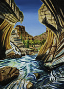 Canyon Drawings Posters - Canyon Falls Poster by Robert Thornton