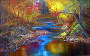 Fall  Of River Paintings - Canyon River by LaVonne Hand