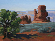Country Western Paintings - Canyon Sentinals-Arches Nat. Park by Julia Grundmeier