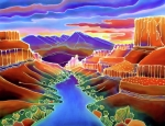 Batik Painting Posters - Canyon Sunrise Poster by Harriet Peck Taylor