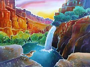 Canyon Paintings - Canyon Waterfall by Harriet Peck Taylor