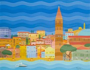 Multicolored Paintings - Caorle by Emil Parrag