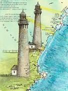 Cape Cod Painting Posters - Cape Ann Twin Lighthouses MA Nautical Chart Map Art Cathy Peek Poster by Cathy Peek