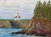 Ball Prints Pastels Framed Prints - Cape Arago Lighthouse Framed Print by Naomi Ball