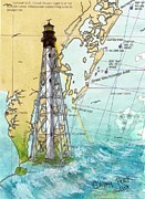 East Coast Lighthouse Paintings - Cape Charles Lighthouse VA Nautical Chart Map art Cathy Peek by Cathy Peek