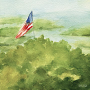 Watercolors Paintings - Cape Cod Beach with American Flag Painting by Beverly Brown Prints