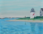 Massachusetts Coast Paintings - Cape Cod Chatham Lighthouse by Sally Rice