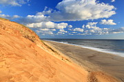 Cape Cod Metal Prints - Cape Cod Colorful Dune White Crest Ocean Beach Metal Print by John Burk