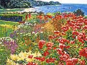 Featured Paintings - Cape Cod Ocean Garden by David Lloyd Glover