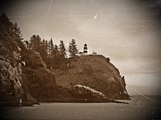 Disappointment Mixed Media Prints - Cape Disappointment Lighthouse Antiqued Print by Chalet Roome-Rigdon