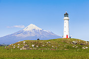 Cape Metal Prints - Cape Egmont Lighthouse and Taranaki Metal Print by Colin and Linda McKie