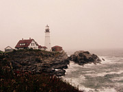 Patricia Januszkiewicz Metal Prints - Cape Elizabeth in the Mist Metal Print by Patricia Januszkiewicz