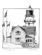 Maine Lighthouses Drawings Posters - Cape Elizabeth Lighthouse Poster by Ira Shander