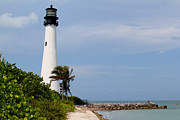 Cape Florida Lighthouse Posters - Cape Florida beach Poster by Carey Chen