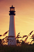 Peaceful Scene Pyrography Prints - Cape Florida Lighthouse Print by Dmitry Chernomazov