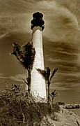 Lighthouse Artwork Posters - Cape Florida Lighthouse Poster by Skip Willits