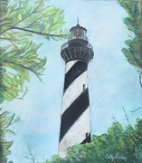 Famous Pastels Posters - Cape Hatteras Light Poster by Cathy Lindsey