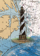 Cape Hatteras Lighthouse Posters - Cape Hatteras Lighthouse NC Nautical Chart Map Art Cathy Peek Poster by Cathy Peek