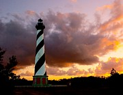 Lighthouse Photo Posters - Cape Hatteras Sunset Poster by Nick Zelinsky