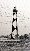 Seacoast  Drawings Metal Prints - Cape Lookout Lighthouse NC Metal Print by Julie Brugh Riffey