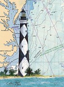 East Coast Lighthouse Paintings - Cape Lookout Lighthouse NC Nautical Chart Map Art Cathy Peek by Cathy Peek