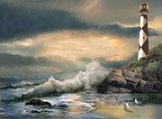 Lookout Painting Prints - Cape Lookout lighthouse under glowing sky  Print by Gina Femrite