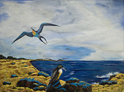 Sea Birds Paintings - Cape May Gulls by Susan Culver