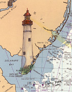 East Coast Lighthouse Paintings - Cape May Lighthouse NJ Nautical Chart Map Art Cathy Peek by Cathy Peek