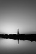 Jerseyshore Photo Originals - Cape May Lighthouse Sunset BW by Michael Ver Sprill