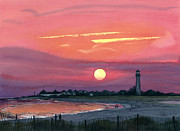 Realistic Watercolor Posters - Cape May Sunset Poster by Barbara Jewell