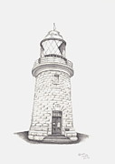 Lighthouse Drawings - Cape Naturalist Lighthouse by Patricia Hiltz