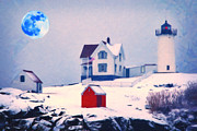 Difficulties Love Posters - Cape Neddick Light snow art Poster by MotionAge Art and Design - Ahmet Asar