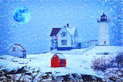 Difficulties Love Posters - Cape Neddick Light snow pastel Poster by MotionAge Art and Design - Ahmet Asar