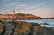 Maine Lighthouses Photo Posters - Cape Neddick Lighthouse From the Rocks Poster by At Lands End Photography