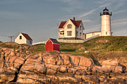 Maine Lighthouses Photo Posters - Cape Neddick Lighthouse in Evening Light 2 Poster by At Lands End Photography