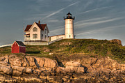 Maine Lighthouses Posters - Cape Neddick Lighthouse in Evening Light Poster by At Lands End Photography