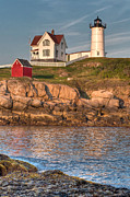Maine Lighthouses Photo Posters - Cape Neddick Lighthouse in Evening Light - Portrait Poster by At Lands End Photography