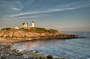 Nubble Lighthouse Prints - Cape Neddick Lighthouse Island in Evening Light Print by At Lands End Photography