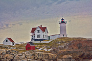 Cape Neddick Lighthouse Prints - Cape Neddick Lighthouse Print by Kelly Carey