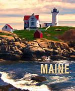 Cape Neddick Lighthouse Maine  At Sunset  Print by Elaine Plesser