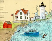 Cape Neddick Lighthouse Painting Metal Prints - Cape Neddick Lighthouse ME Nautical Chart Map Art Cathy Peek Metal Print by Cathy Peek