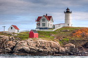 Nubble Lighthouse Framed Prints - Cape Neddick Nubble Lighthouse I Framed Print by Clarence Holmes