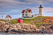 Cape Neddick Light Framed Prints - Cape Neddick Nubble Lighthouse II Framed Print by Clarence Holmes