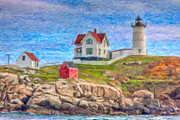 Maine Lighthouses Photo Posters - Cape Neddick Nubble Lighthouse Impasto Poster by Clarence Holmes