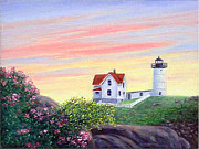 Cape Neddick Lighthouse Painting Metal Prints - Cape Neddick Sunrise Metal Print by Fran Brooks