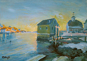 Down East Painting Framed Prints - Cape Porpoise Winter Evening Framed Print by Karen Pettengill