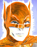 Super Stars Painting Framed Prints - Caped Crusader Orange Framed Print by Ronn Greer