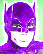 Super Stars Painting Framed Prints - Caped Crusader Purple Framed Print by Ronn Greer